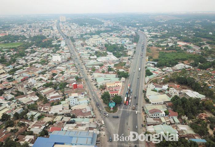 Vùng H.Long Thành được đánh giá là vùng phát triển với nhiều tiềm năng Trong ảnh: Một góc đô thị H.Long Thành. Ảnh: P.Tùng