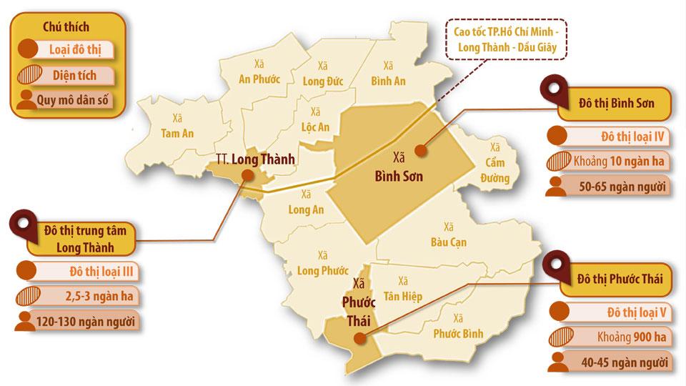 Đồ họa thể hiện quy hoạch phát triển 3 đô thị vùng H.Long Thành đến năm 2030 Thông tin: Phạm Tùng - Đồ họa: Hải Quân